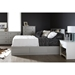 Vito Queen Mates Bed - 2 Drawers, Bookcase Headboard, Soft Gray - SS-10043