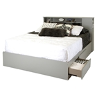 Vito Queen Mates Bed - 2 Drawers, Bookcase Headboard, Soft Gray