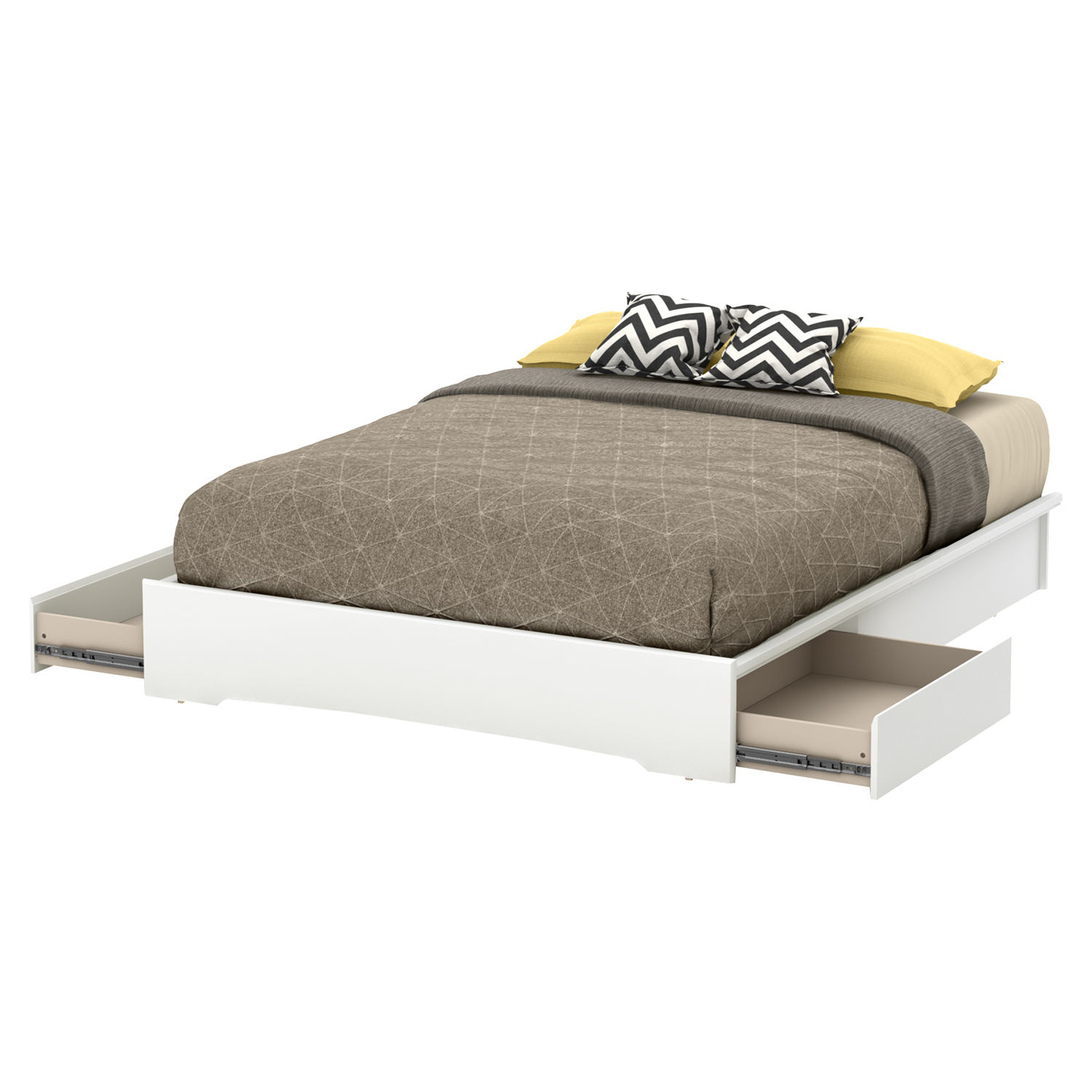 Basic Queen Platform Bed - 2 Drawers, Pure White - SS-10158