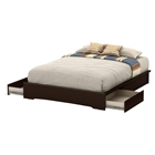 Basic Queen Platform Bed - 2 Drawers, Chocolate