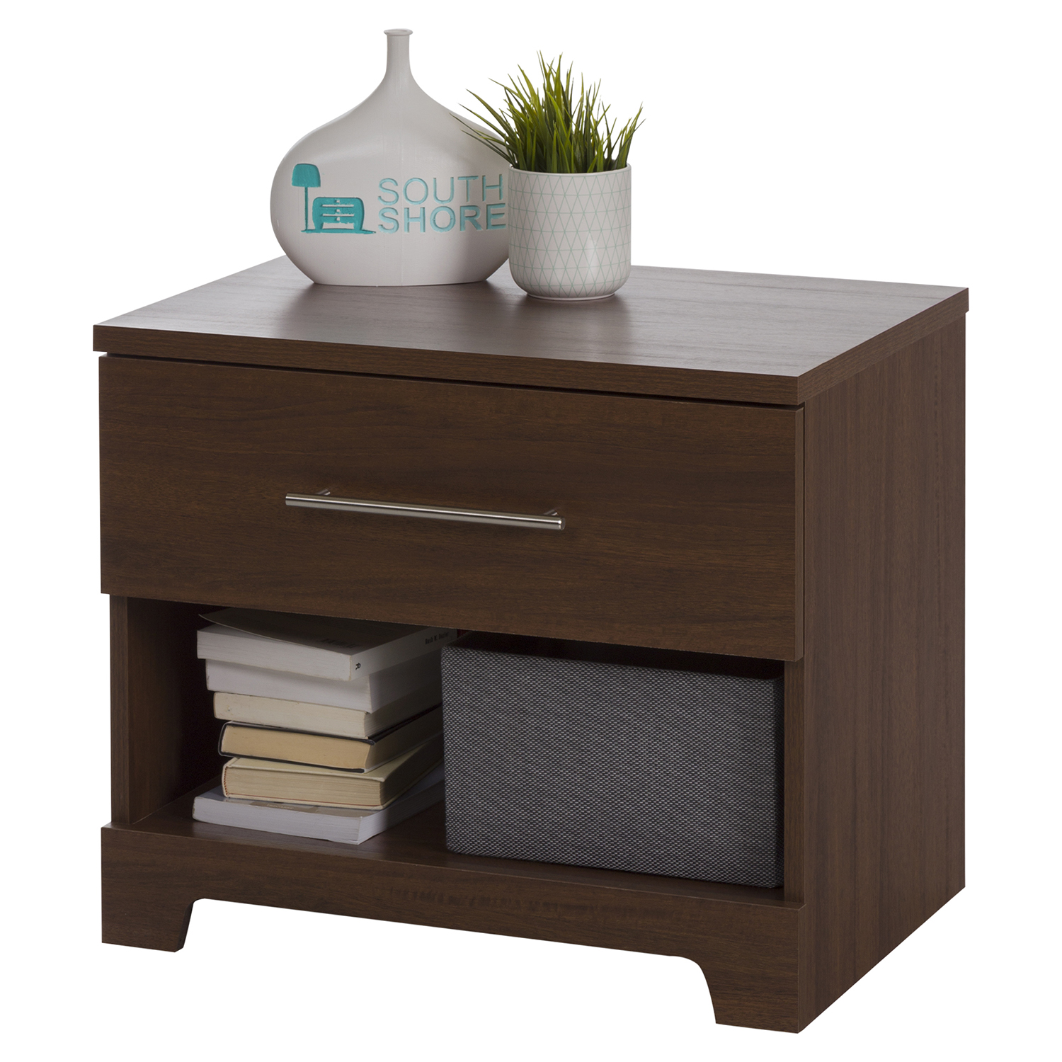 Primo 1 Drawer Nightstand, Brown Walnut - SS-10335