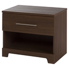 Primo 1 Drawer Nightstand, Brown Walnut