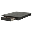 Holland Full/Queen Platform Bed - 1 Drawer, Gray Oak