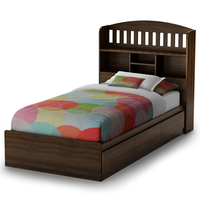 Popular Mocha Twin Bookcase Bed
