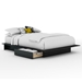 Step One Black Storage Bed with Headboard - SS-3107217-3107270