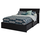 Step One Queen Storage Bed - Pure Black, Panel Headboard