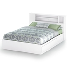Vito White Queen Storage Bed with Bookcase Headboard