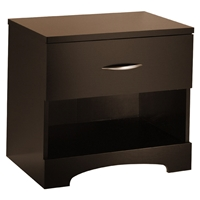 Step One Chocolate Nightstand with Open Shelf