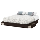 Step One King Platform Bed - 2 Drawers, Chocolate