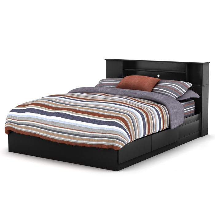 Vito Queen Black Mate's Bed with Bookcase Headboard