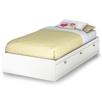 Sparkling Twin Mates Bed in Pure White