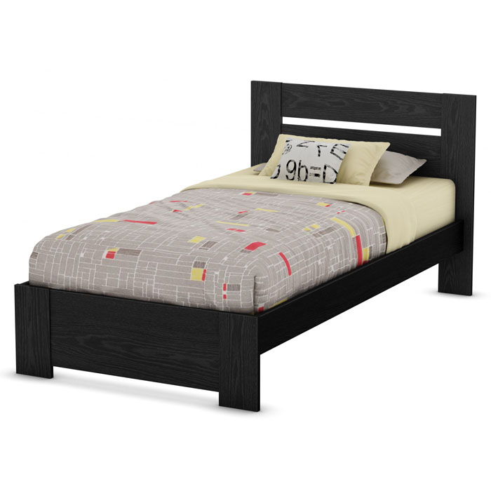 Flexible Twin Panel Bed in Black Oak - SS-3347189