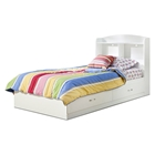 Logik White Bookcase Platform Bed with Drawers