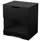 Holland Contemporary Pure Black Nightstand with Open Storage