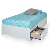 Crystal Twin Size Mates Bed in White