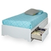 Crystal Twin Size Mate's Bed in White - SS-3550080