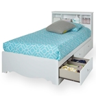Crystal White Twin Mate's Bed with Bookcase Headboard