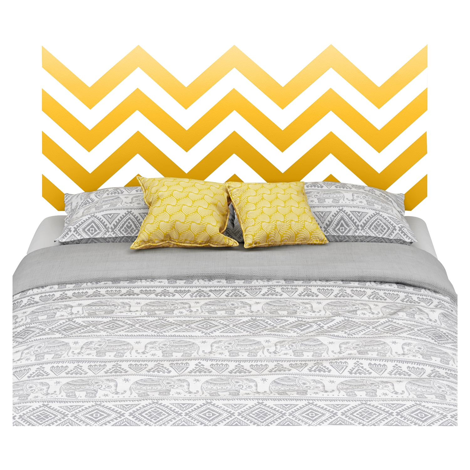Step One Queen Platform Bed - Yellow Chevron Decal, Pure White - SS-8050091K