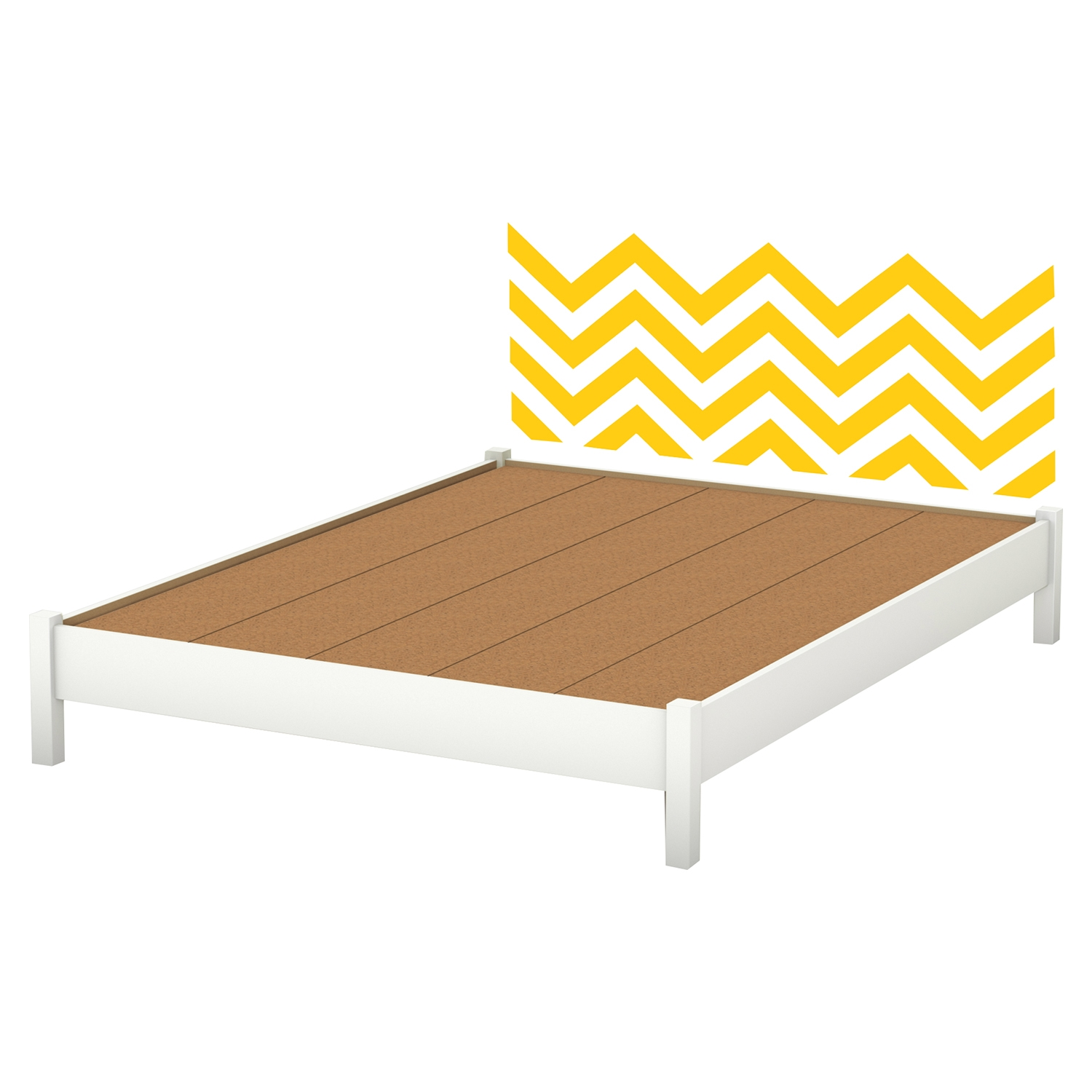 Step One Queen Platform Bed with Legs - Yellow Chevron Decal, Pure White