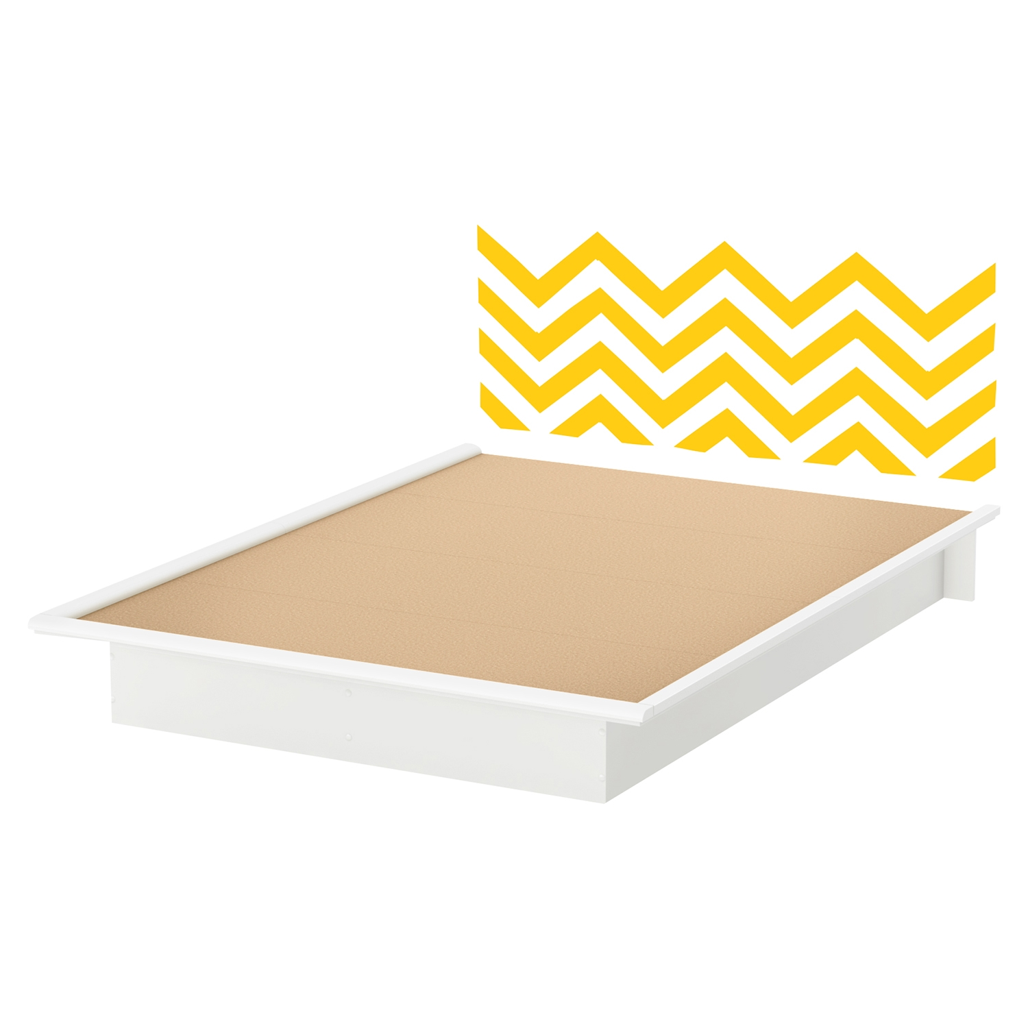 Step One Queen Platform Bed - Yellow Chevron Decal, Pure White