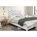 Step One Queen Platform Bed with Legs - Gray Chevron Decal, Pure White - SS-8050092K