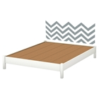 Step One Queen Platform Bed with Legs - Gray Chevron Decal, Pure White