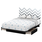 Step One Queen Storage Platform Bed - Gray Chevron Decal, Pure Black