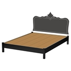 Step One Queen Platform Bed with Legs - Black Baroque Decal, Pure Black