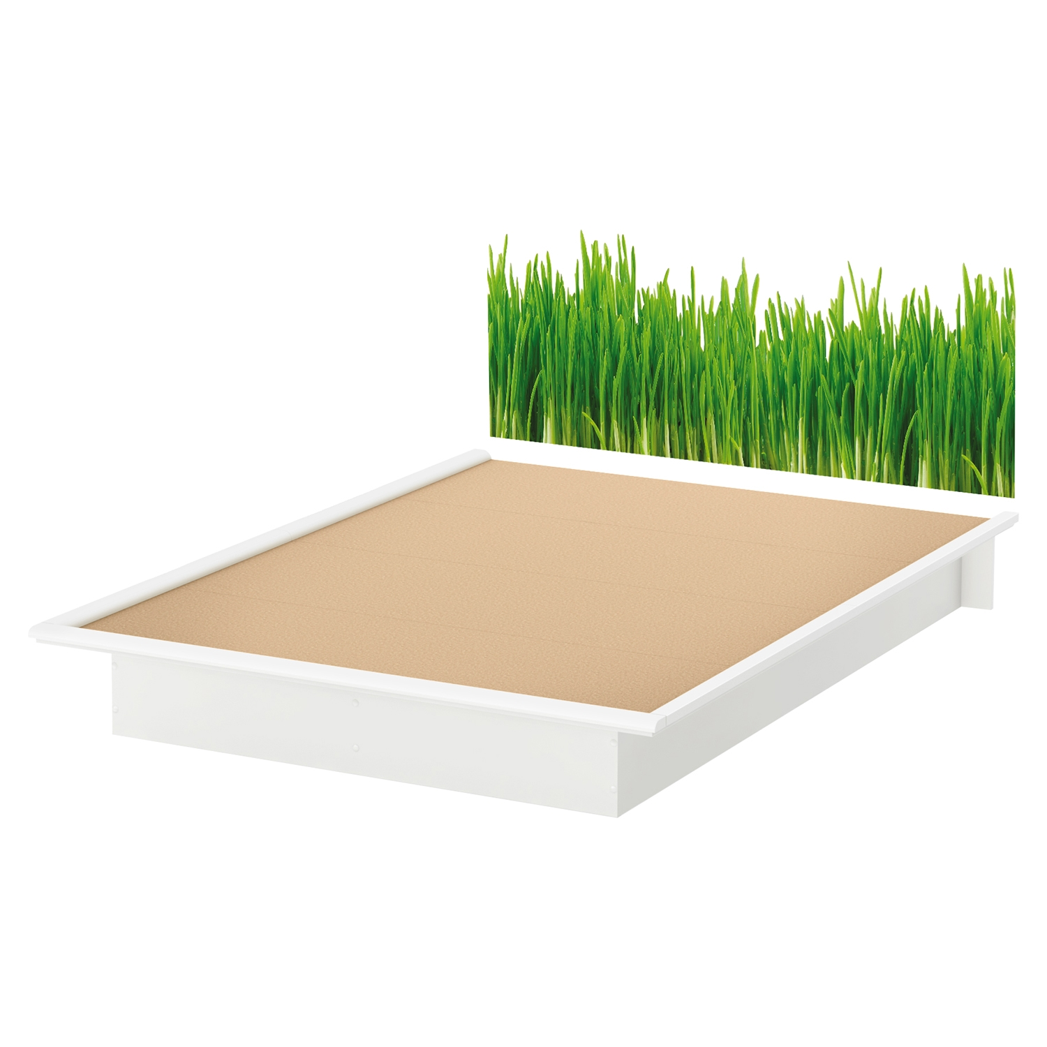 Step One Queen Platform Bed - Grass Decal, Pure White