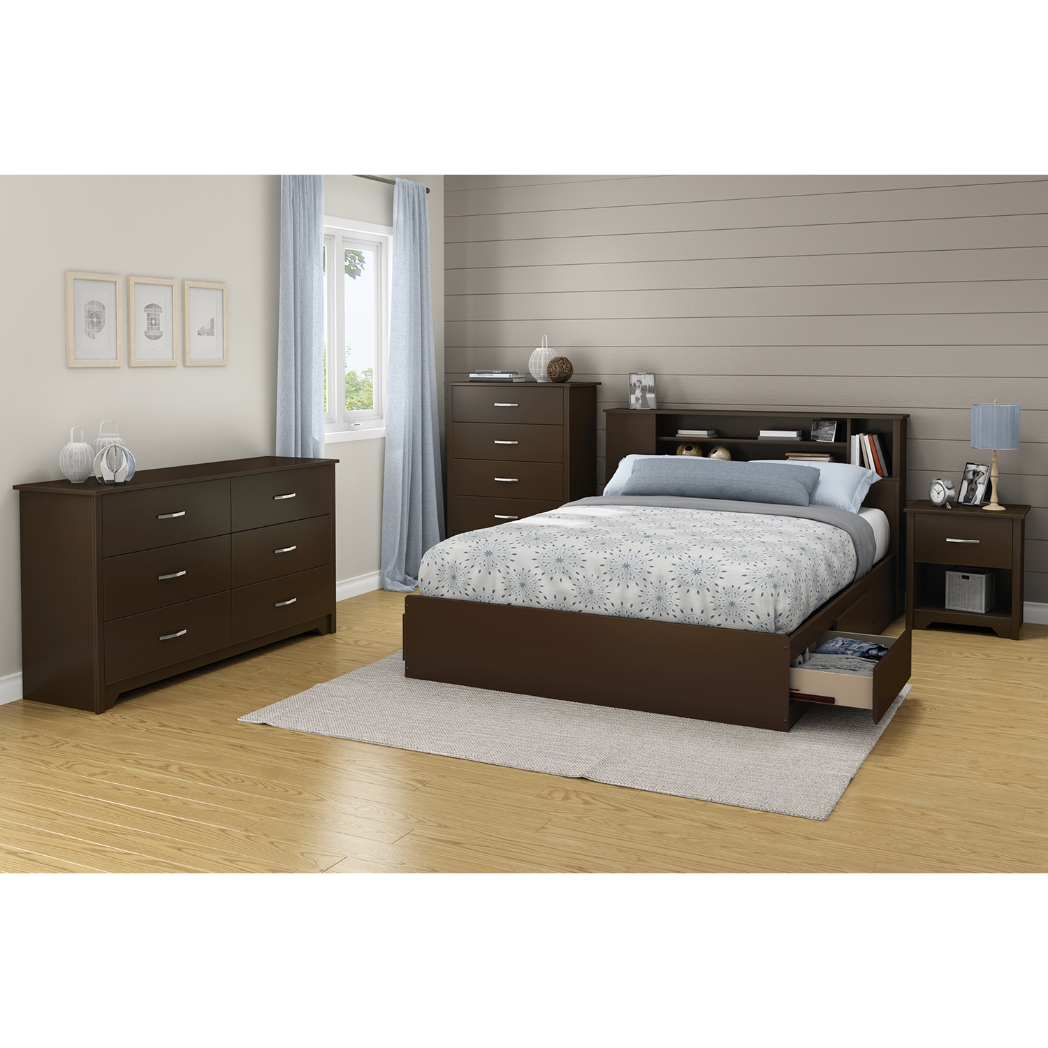 Fusion Queen Mates Bed - 2 Drawers, Chocolate - SS-9006B1