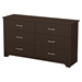 Fusion Double Dresser - 6 Drawers, Chocolate - SS-9006010