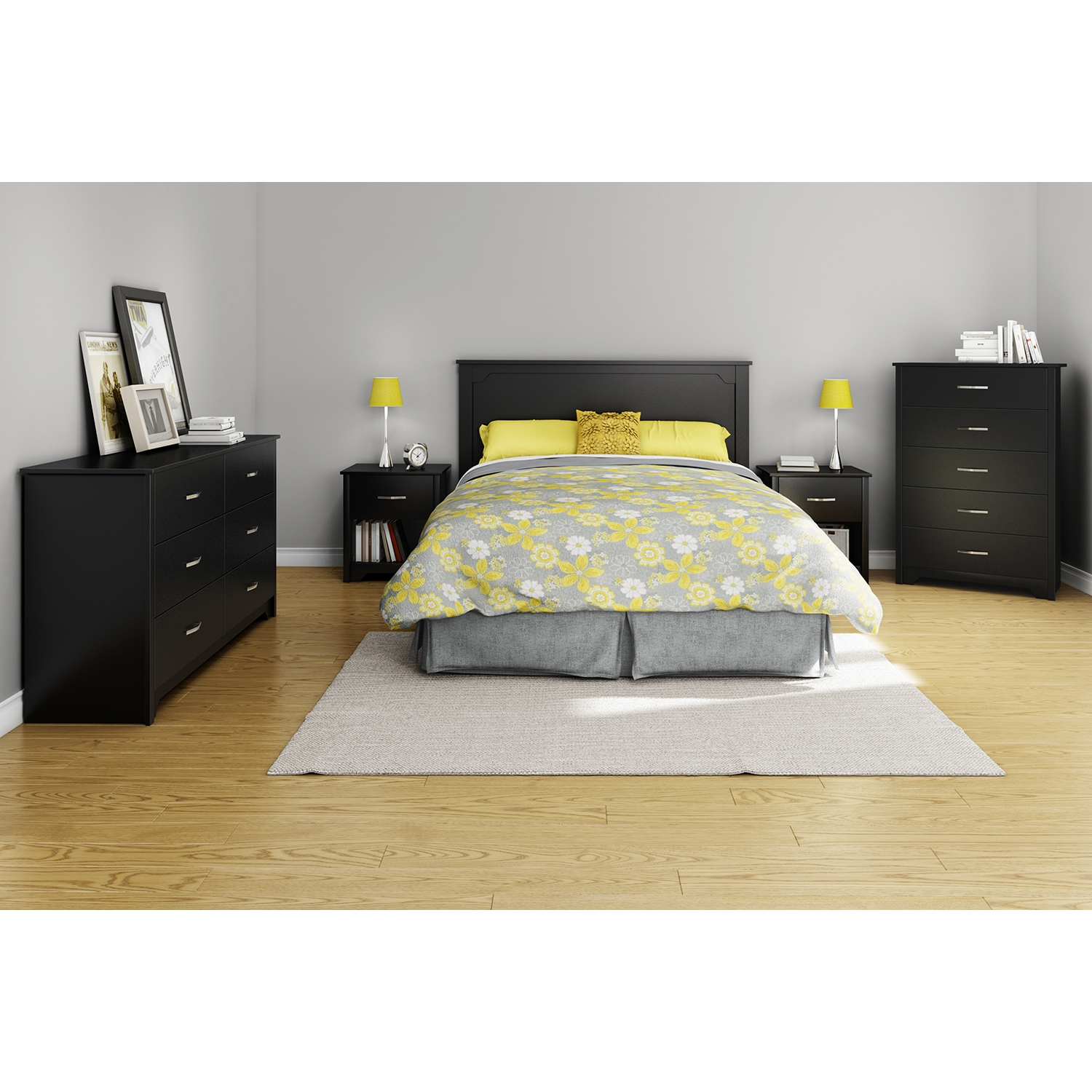 Fusion Double Dresser - 6 Drawers, Pure Black - SS-9008010