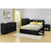 Fusion Queen Mates Bed - 2 Drawers, Pure Black - SS-9008B1