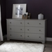 Vito 6 Drawers Double Dresser - Soft Gray - SS-9021010