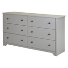 Vito 6 Drawers Double Dresser - Soft Gray
