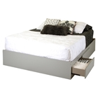 Vito Queen Mates Bed - 2 Drawers, Soft Gray