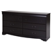Vintage 6 Drawers Double Dresser - Dark Mahogany - SS-9033010