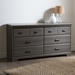 Versa 6 Drawers Double Dresser - Gray Maple - SS-9041010
