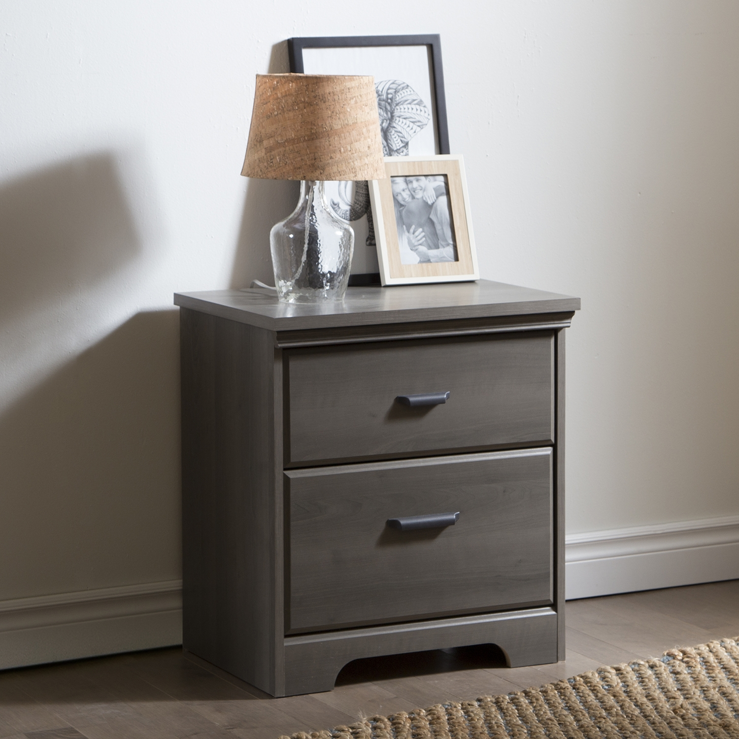 Versa 2 Drawers Nightstand - Gray Maple - SS-9041060