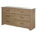 Fusion Double Dresser - 6 Drawers, Rustic Oak - SS-9063010