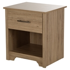 Fusion Nightstand - 1 Drawer, Rustic Oak