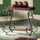 Ellery Chairside End Table with Metal Scroll Accents