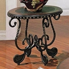 Rosemont End Table with Black Metal Base