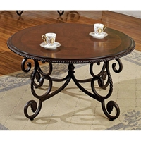 Crowley Cocktail Table with Cherry Finished Round Top