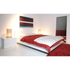 Float Queen Bed with 2 Night Tables in High Gloss White