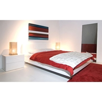 Float Queen Platform Bed in High Gloss White