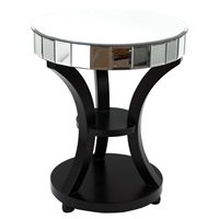 Wood Mirror Table - Black Base