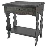 Wood Table - 1 Drawer, 1 Shelf, Distressed Finish