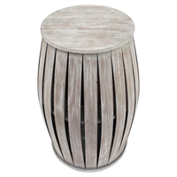Wood Table - Round Top, Drum Base
