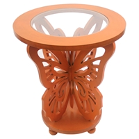 Wood Butterfly Table - Orange, Glass Top